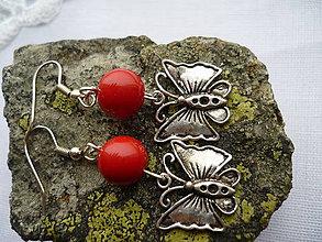 Náušnice - Motýliky červené - 6227467_