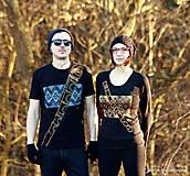 Tričká - Dámske a pánske tričká párové s fujarou a píšťalkou maľované SPEVAVO - 6227670_