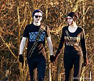 Tričká - Dámske a pánske tričká párové s fujarou a píšťalkou maľované SPEVAVO - 6227671_