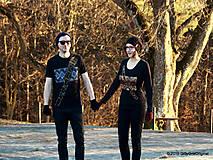 Tričká - Dámske a pánske tričká párové s fujarou a píšťalkou maľované SPEVAVO - 6227678_