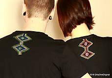 Tričká - Dámske a pánske tričká párové s fujarou a píšťalkou maľované SPEVAVO - 6227679_