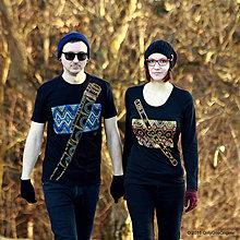 Tričká - Dámske a pánske tričká párové s fujarou a píšťalkou maľované SPEVAVO - 6227652_