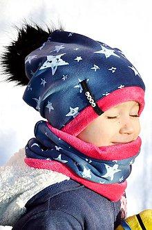 Detské súpravy - zimná súprava Hviezdy na modrom & magenta s menom a odopínacím brmbolcom - 6230245_