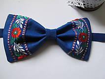 Doplnky - Pánsky motýlik-folkový v modrom - 6231564_