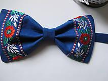 Doplnky - Pánsky motýlik-folkový v modrom - 6231566_