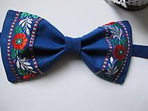 Doplnky - Pánsky motýlik-folkový v modrom - 6231569_