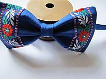 Doplnky - Pánsky motýlik-folkový v modrom - 6231573_