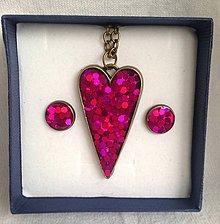 Sady šperkov - Srdiečkový set ružový - 6236759_