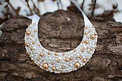 Náhrdelníky - Perličkový zlatý elegán - 6235365_