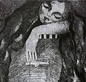 Spiaca rozprávka - grafický list - čierna na bielom