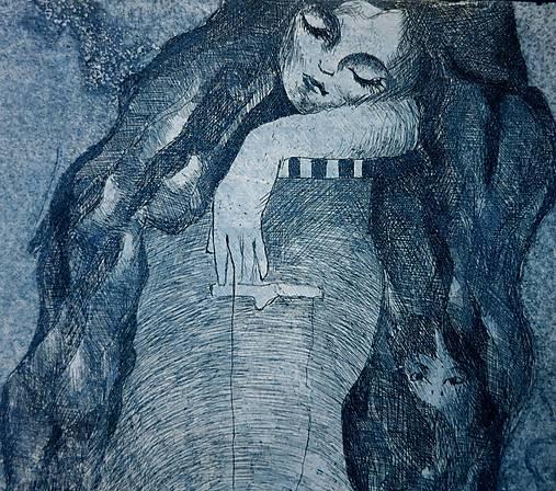 Spiaca rozprávka - grafický list - modrá na bielom