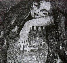 Grafika - Spiaca rozprávka - grafický list - čierna na bielom - 6241687_