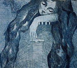 Grafika - Spiaca rozprávka - grafický list - modrá na bielom - 6241703_