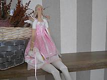 Bábiky - bábika tilda anjelička v ružovom  prevedení - 6241549_