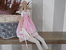 Bábiky - bábika tilda anjelička v ružovom  prevedení - 6241552_