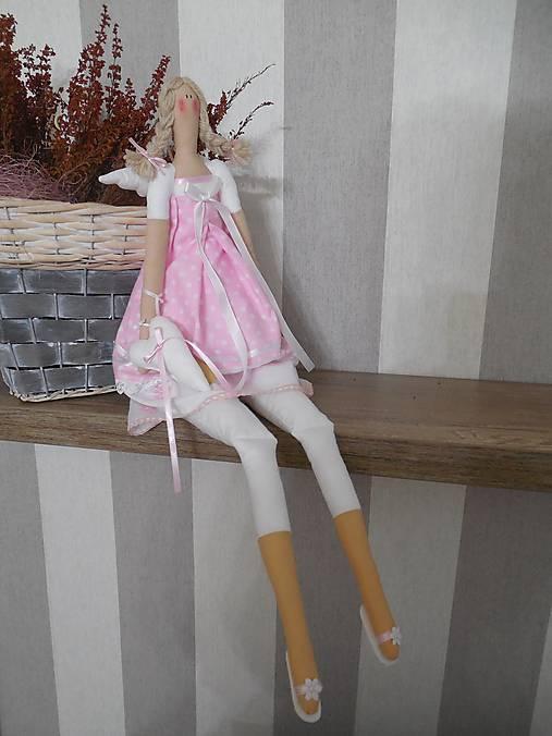 bábika tilda anjelička v ružovom  prevedení