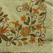 Papier - S568 - Servítky - ľudový motív, hnedý - 6240198_