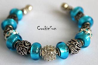 Náramky - Náramok Pandora Blue&Silver... - 6240367_