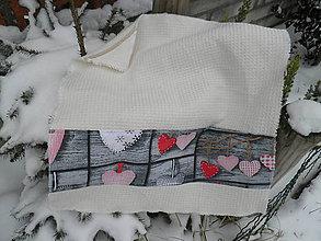 Úžitkový textil - Bavlněná vaflová utěrka se srdíčky - 6240613_