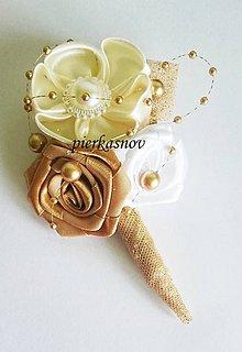 Pierka - Svadobné pieko veľké biela + ivory + zlatá - 6244651_