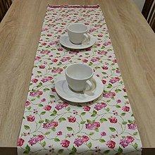 Úžitkový textil - Stredový obrus - fialovo bordové ruže 130x33 - 6244726_