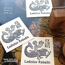 Drobnosti - Čitateľ na rybe: pečiatka 4x4 cm - 6244969_