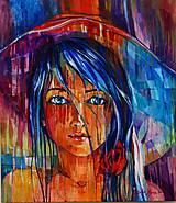Obrazy - Modrovlasé dievča - 6243414_
