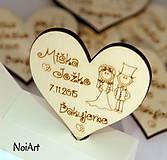 Darčeky pre svadobčanov - Svadobné magnetky srdiečko mladomanželia - 6247570_