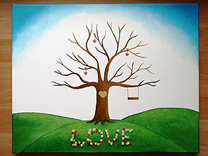 Obrazy - Wedding tree V - svadobný strom s tulipánmi - 6246753_