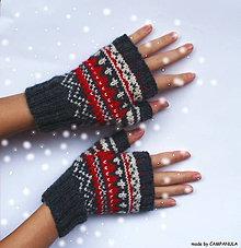 Rukavice - Pletené rukavice s červeno-bielym nórskym vzorom - 6250206_
