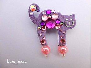 Odznaky/Brošne - Brošnička mačička fialkovo-ružová :) - 6250553_