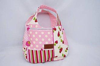 Detské tašky - Taštička do ruky ružová s jahôdkami - 6254488_