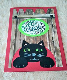 Papiernictvo - Pozdrav / Blahoželanie - čierna mačka pre šťastie - 6252321_