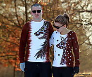 Tričká - Dámske a pánske tričká párové s vlkom a srnkou batikované a maľované TANEC S VLKOM - 6252819_