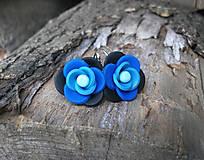 Náušnice - Modré kvietky - 6258876_