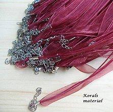 Komponenty - 2261 Stužkový náhrdelník VÍNOVÝ, 2 ks - 6256358_