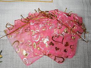 Obalový materiál - Organzové vrecúška-ružové 10x12cm - 6257616_