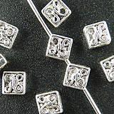 Komponenty - Kovový medzikus - štvorec s ornamentom - 6262287_