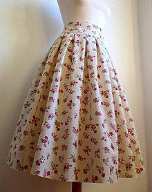 Sukne - nadýchaná suknička s kvietkami - pod kolená - 6259846_