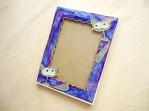 Rámiky - Ručne Rezaný Maľovaný Stolový fotorám mačičky - 6261433_