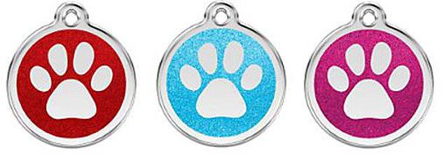 Pre zvieratká - Gravírované psie známky Red Dingo -Tlapka malá trblietavá - 6263899_