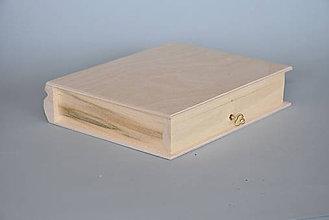 Polotovary - Drevená krabica, tvar kniha s kľúčikom - 6263582_