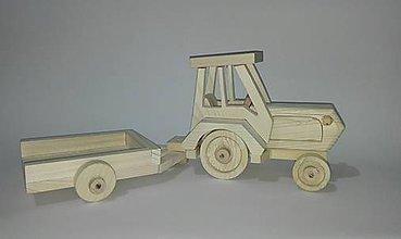 Hračky - drevený traktor zo strechov a vlečkou - 6266569_
