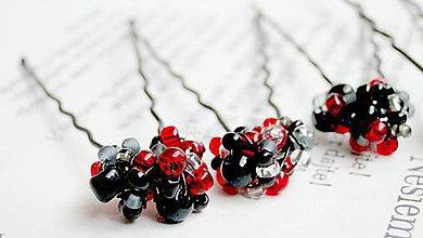 Ozdoby do vlasov - Red & Black - 6267725_