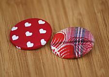 Materiál ručne robený - Buttony 38 mm - červenosrdiečkové - 6268170_