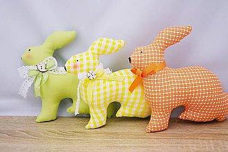Dekorácie - Malé veľkonočné zajace (Oranžová) - 6269282_