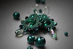 Náušnice - mini štebotavé (smaragdové-emerald) - 6267813_