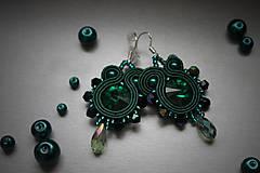 Náušnice - mini štebotavé (smaragdové-emerald) - 6267815_
