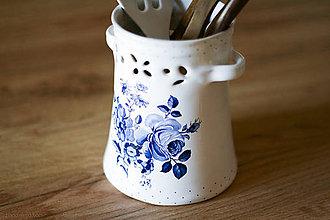 Nádoby - Nádoba na varechy alebo cesnak - modré ruže - 6268208_