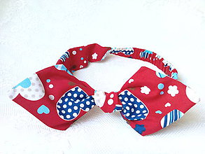 Ozdoby do vlasov - Pin Up headband on elastic (red/hearts) - 6273296_